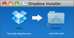 Drag the Dropbox icon to your Applications folder