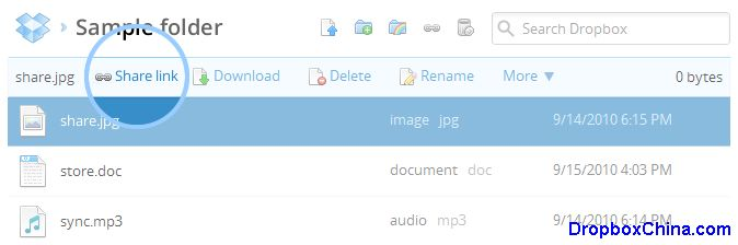 Share link to a file from the Dropbox website